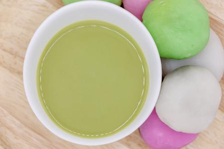 Daifuku Mochi Japanese dessert and matcha green tea on white background