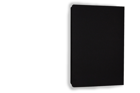Top view black color notebook on white background