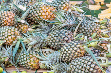 Many pineapples are yellow in market Thailand