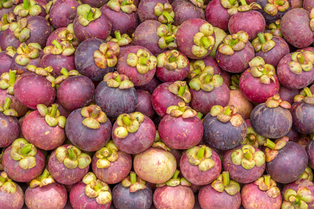 Mangosteen fruit closeup background in market Thailand Reklamní fotografie