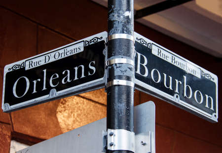 bourbon street: Orleans and Bourbon Streets Sign in New Orleans Stock Photo