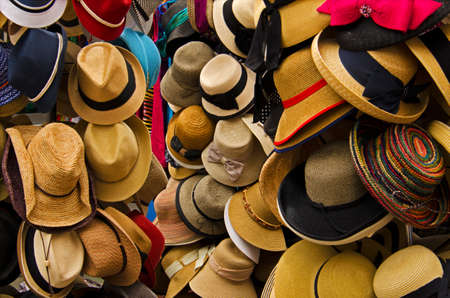store window: Hat Display in Local Market Stock Photo
