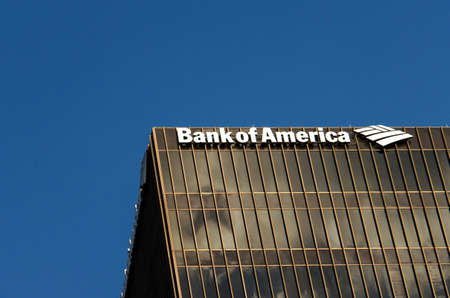 bank of america: Austin, USA - July 19, 2015: Bank of America logo on one of the office buildings in Austin, Texas., USA.