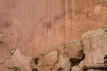 anasazi: Cliff petroglyphs of ancient Anasazi Indian tribe in Capitol Reef National Park
