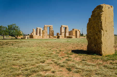 shorter: Stonehenge replica located in the University of Texas in Odessa that is 14 shorter than the original one in England. Stock Photo