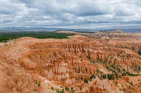 hoodoos: Hoodoos during cloudy, moody weather at Bryce Canyon National Park in Utah Stock Photo