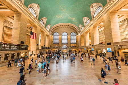 bustling: New York, USA - June 19, 2016: Bustling grand central terminal in New York City