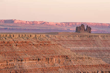 geological formation: Red sunset in Goosenecks park in Utah with geological rock formation Stock Photo