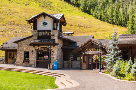 ski lodge: Vail, USA - September 10, 2015: Swiss Style Decorated Building for Ski Lift in Colorado Editorial