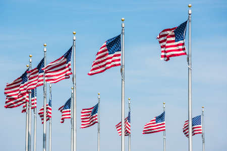banderas americanas: Curved row of many American Flags in Washington D.C. by monument isolated against blue sky