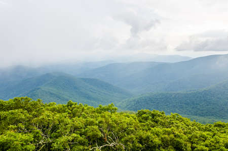 appalachian: View from Mount Pleasant in Shenandoah Blue Ridge appalachian mountains with fog and valley Stock Photo