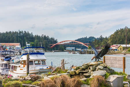 conner: La Conner, USA - April 21, 2016: Famous bridge with boats and waterfront waterway bay Swinomish channel in historical village in Washington State
