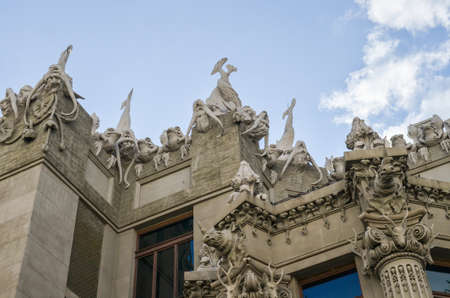 pilasters: Kiev, Ukraine - May 25, 2013: House with Chimaeras or Horodecki House Art Nouveau building in downtown with Gargoyles