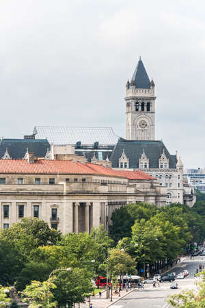 renovated: Washington DC, USA - October 2, 2016: Aerial view of Old Post Office that President Trump has bought and renovated Editorial