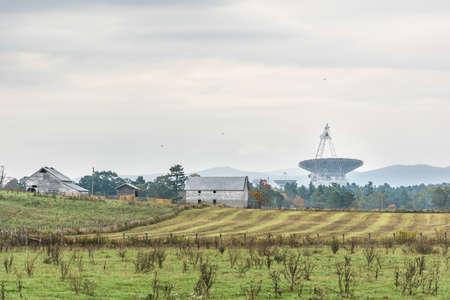 radio telescope: Rural West Virginia farm scenery with Green Bank radio Telescope in distance