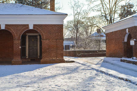 dormitories: Charlottesville, USA - January 24, 2013: Snowfall on lawn of University of Virginia dormitories during winter storm Editorial