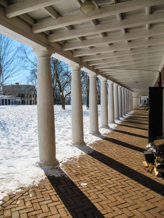 dormitories: Charlottesville, USA - December 3, 2009: Snowfall on lawn of University of Virginia dormitories during winter storm