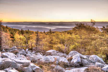 allegheny: Bear rocks sunrise during autumn with rocky landscape in Dolly Sods, West Virginia