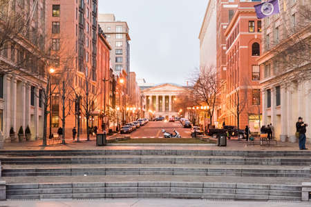 reynolds: Washington DC, USA - December 29, 2016: Smithsonian Reynolds convention center during sunset with lights Editorial