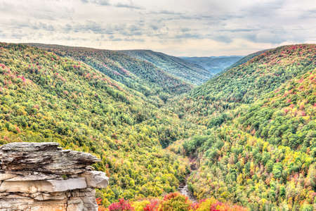 allegheny: Blackwater river with Allegheny mountains in autumn at Lindy Point overlook