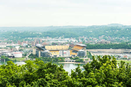 allegheny: Pittsburgh, USA - June 3, 2016: View of Heinz field in with Allegheny river
