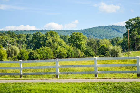 allegheny: Virginia countryside in summer with fence and farms