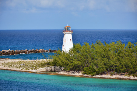 Small lighthouse at the entrance of Nassau harbor - Bahamas
