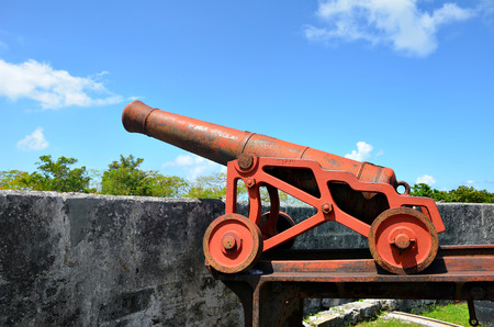 Old cannon at Fort Fincastle in Nassau, Bahamas.