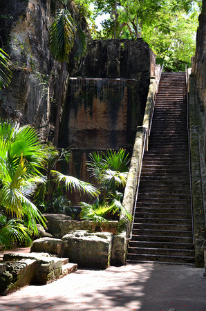 The Queens Staircase in Nassau, Bahamas, also known as the 66 steps, was carved out of solid limestone rock by slaves between 1793 and 1794.