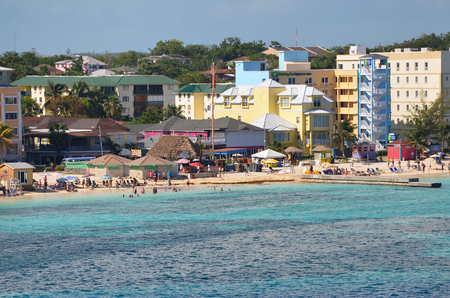 Western Esplanade Beach, Nassau, Bahamas - September 22, 2017: Very popular with tourists due to its proximity to New Providence downtown. Many bars and music make the place enjoyable. Editorial