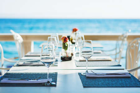 Beach restaurant with sea view