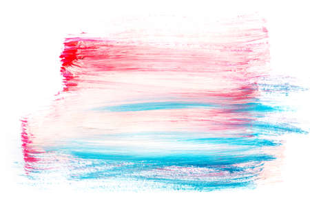 Abstract painting background with bright pink and blue paint strokes Stock Photo