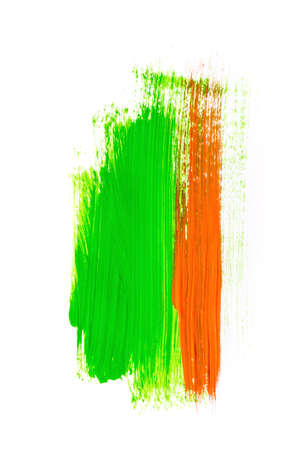 Hand drawn green and orange abstract acrylic background on white