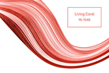 Quilling paper curved stripes in living coral color on white background. Color of the year 2019 concept.