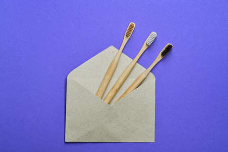 Eco natural bamboo toothbrushes in craft paper envelope