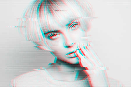 Portrait of attractive woman with glitch effect