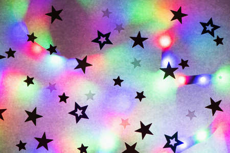 Festive party background with stars and trendy neon light.
