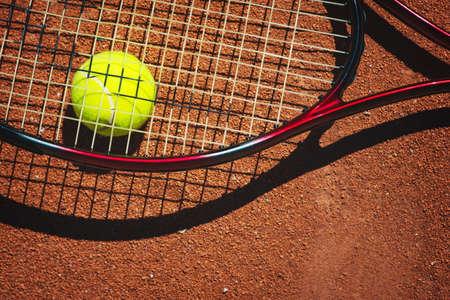 Tennis ball on a tennis court 写真素材