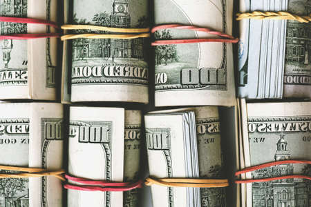Rolls of dollar banknotes. Stock Photo