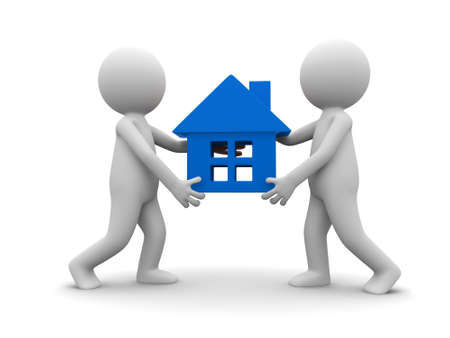 Two cartoon characters carrying   a house  photo