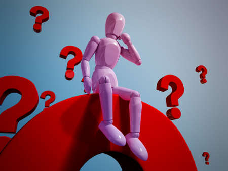 A puppet is thinking in a pile of question marks Stock Photo - 13223808