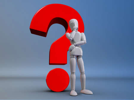 A puppet is thinking in front of a  question mark photo