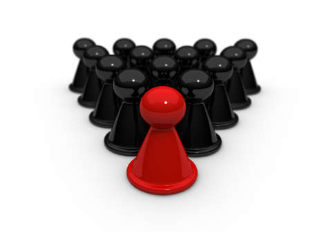 ones: A special red  checkers is in some black ones  Stock Photo