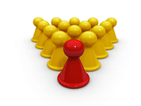 ones: A special red  checkers is in some yellow ones  Stock Photo