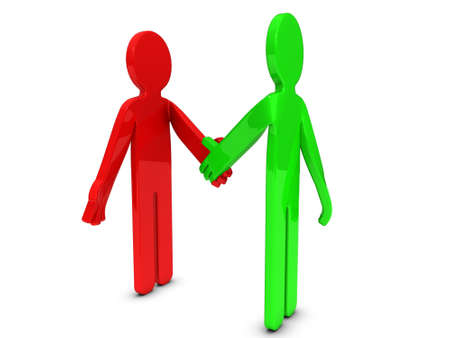 Two 3D cartoon characters are shaking hands  Stock Photo - 13223727