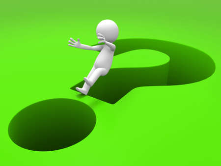 3d people fall into question mark photo