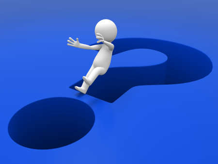 3d people fall into question mark Stock Photo - 15409926