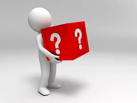 3d people are holding the question mark box Stock Photo - 15409865