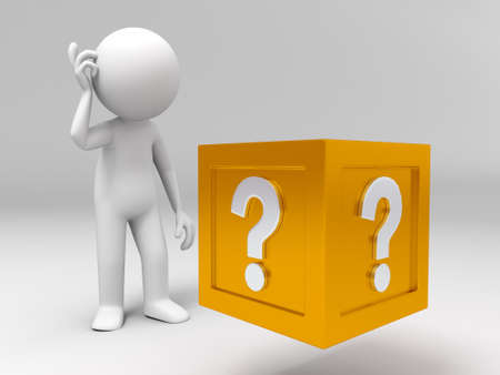 shopping questions: 3d people standing in front of the question box