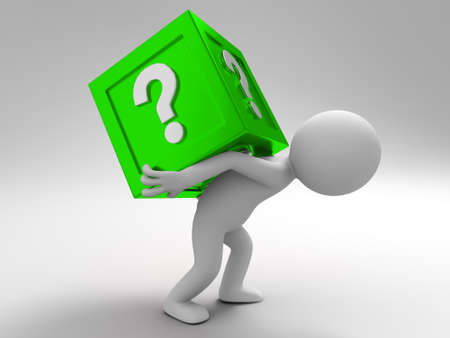 A 3d people was carrying question box away Stock Photo - 15409776